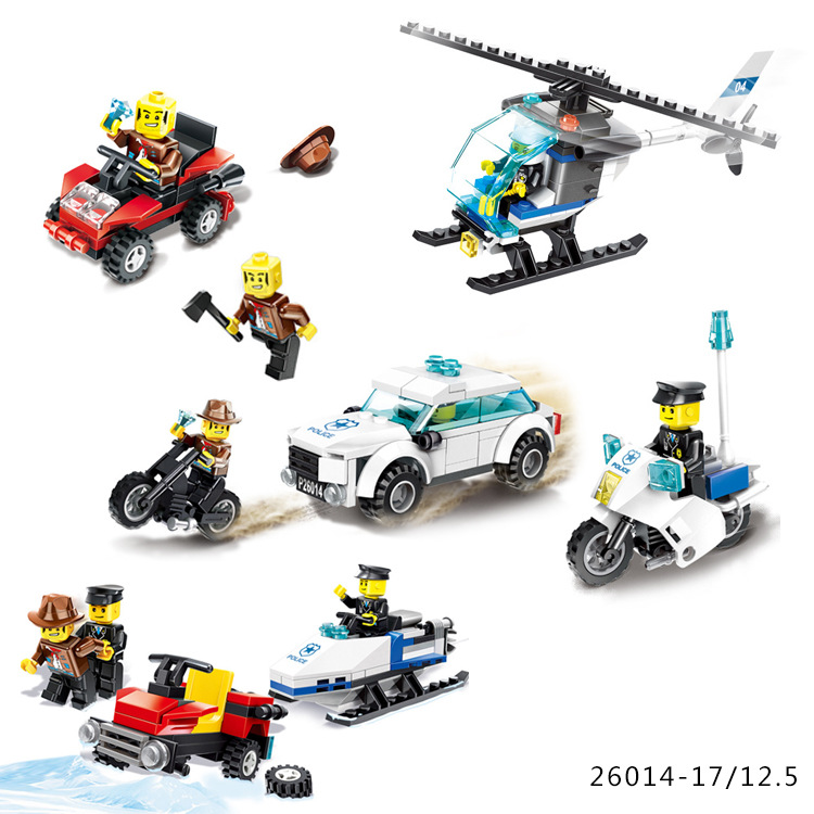 Playmobil Police Blocks Car Motorcycle Building Blocks Policeman Models Action Figure Educational Toys for Children Legoingly