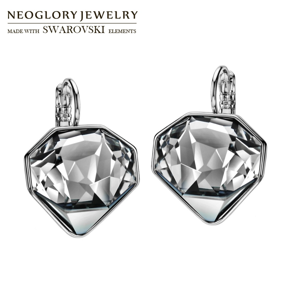 Neoglory MADE WITH SWAROVSKI ELEMENTS Crystal Drop Earrings Rhombus Design Cutting Korean Trendy For Lady Holiday Party Gift pair of chic rhombus faux crystal earrings for women