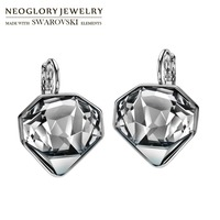 Neoglory MADE WITH SWAROVSKI ELEMENTS Crystal Drop Earrings Rhombus Design Cutting Korean Trendy For Lady Holiday Party Gift