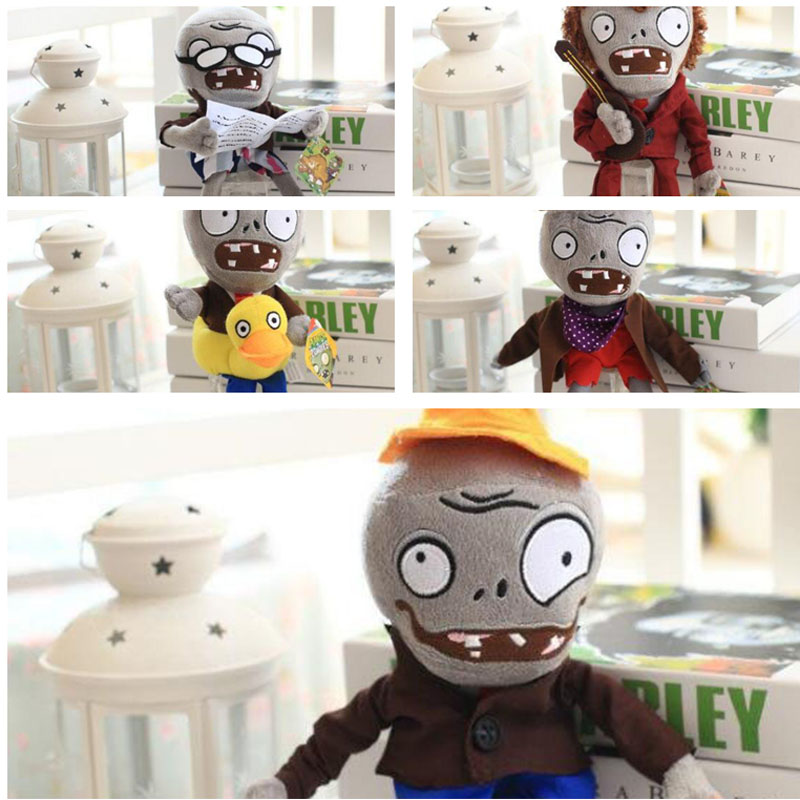 Free Shipping 25cm High quality PP Cotton Plants vs Zombies In 5 Style Zombies Lovely Plush Toys For Children 5pcs/set
