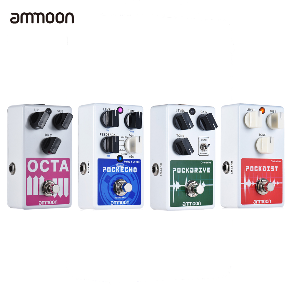ammoon Guitar Effect Pedal 5 Effects Pedal Classic Distortion Overdrive Looper Delay Guitar Pedal Guitar Accessories