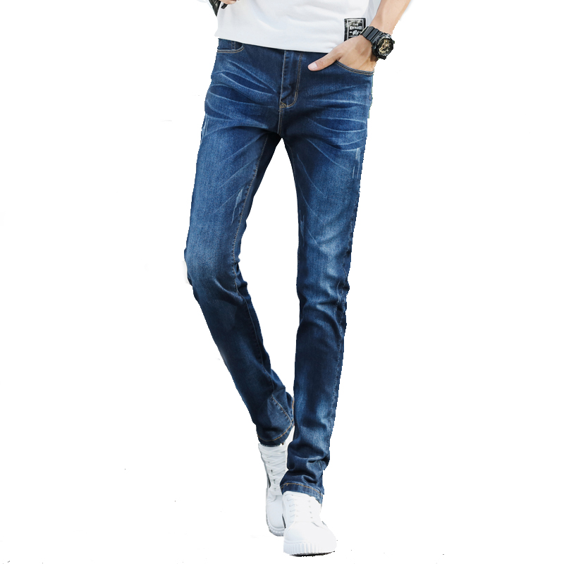 2018 spring and summer stretch denim trousers Slim feet jeans male young students Slim mens pants fashion trend