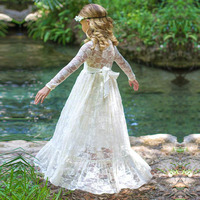 2017 Girl Lace Long Dress With Sweet Flower For Age Baby Kids Princess Wedding Prom Party White/Cream Big Bow Long Sleeved Dress