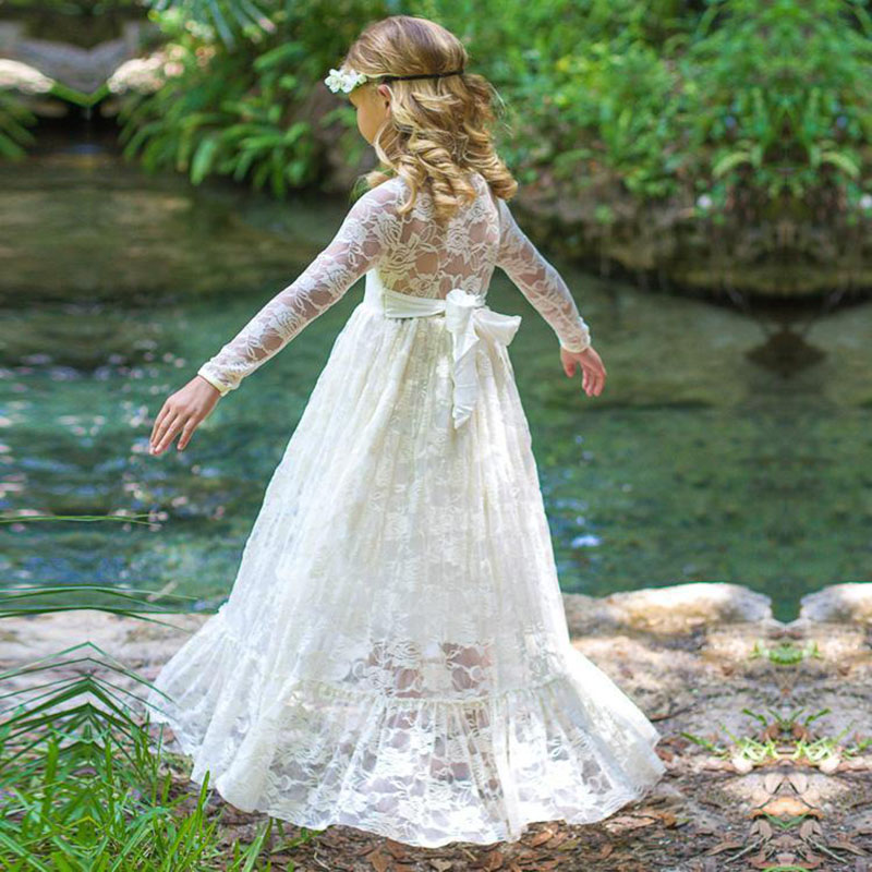 2018 Girl Lace Long Dress With Sweet Flower For Age Baby Kids Princess Wedding Prom Party White/Cream Big Bow Long Sleeved Dress купить дешево онлайн