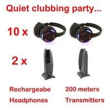 Sessiz disko rekabet sistem siyah led kablosuz kulaklıklar sessiz Clubbing parti paketi (10 kulaklıklar + 2 vericiler)