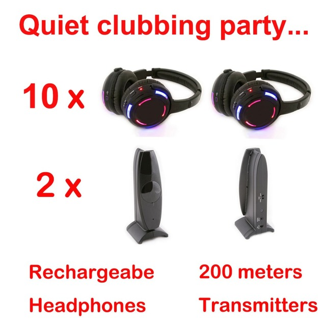 Silent Disco compete system black led wireless headphones   Quiet Clubbing Party Bundle (10 Headphones + 2 Transmitters)