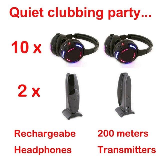 サイレントディスコ競合システムブラック led ワイヤレスヘッドフォン静音クラブパーティーバンドル (10 ヘッドフォン + 2 トランスミッタ)