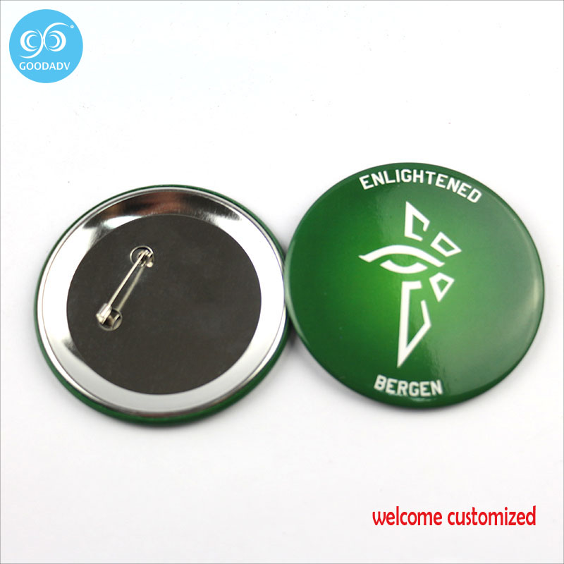 Custom Round 60 75mm Pin Back Metal Button Badge Stainless
