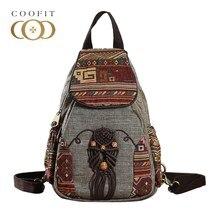 Coofit Национальный Стиль женщины рюкзак старинные ручной работы холст рюкзак для девочек Дорожная мини-рюкзак геометрической печати Bagpack