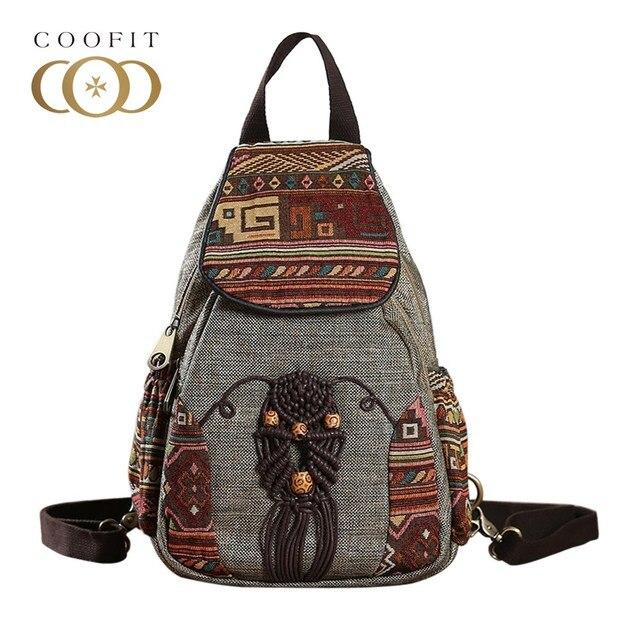 Coofit Women Backpack Female Vintage Handmade Backpacks For Girls Mini  Backpack National Style Geometrical Print Canvas d208a82697f6f