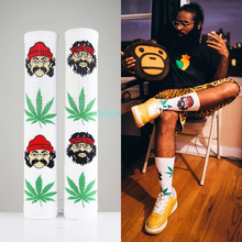 Hip Hop Socks Men Women 3d Comedy Cheech&chong Portrait Weed Calcetines Funny Socks Leaf Stocking Skateboardsox Calcetines