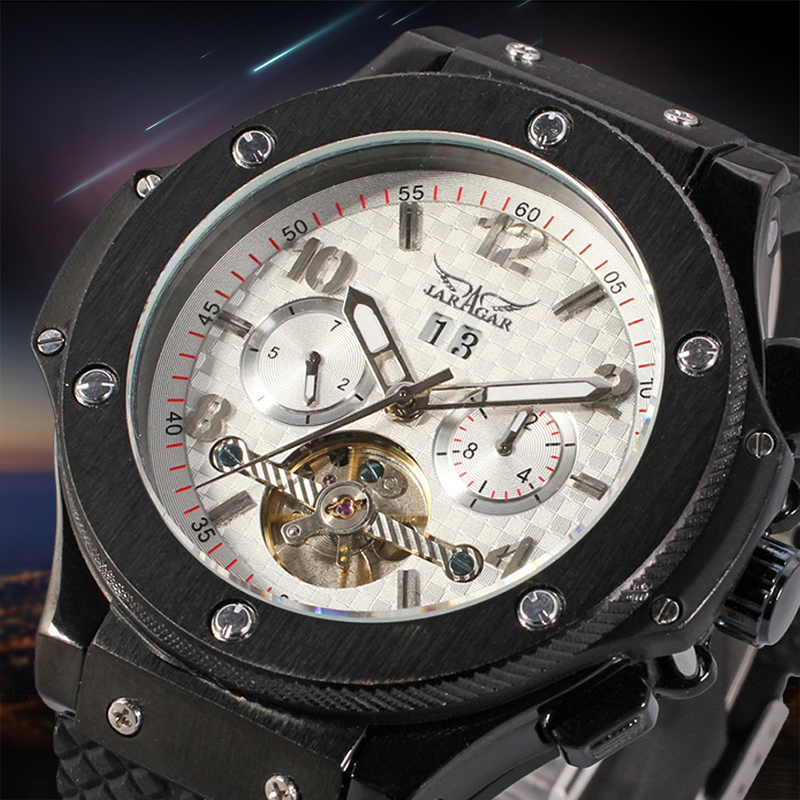 Men Luxury Brand Watch Black Rubber Sport Tourbillion Automatic Mechanical Wristwatch ultra luxury 2 3 5 modes german motor watch winder white color wooden black pu leater inside automatic watch winder