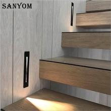 3W 벽 빛 LED Recessed 계단 빛 실내 장식 단계 조명 사다리 계단 밤 빛 복도 벽 램프 알루미늄