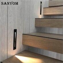 Lâmpada de led de parede de 3w, luminária embutida para escada, decoração interna, para andar de escada, luz noturna, para corredor, alumínio