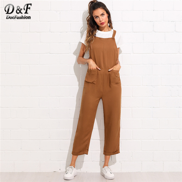 73f6257bb6c Dotfashion Pocket Front Rolled Up Hem Pinafore Jumpsuit Autumn Mid Waist Straight  Leg Jumpsuit Women Sleeveless Preppy Jumpsuit