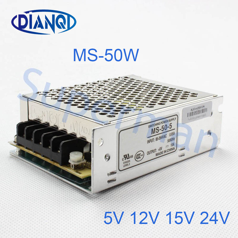 DIANQI Mini Size Switching Power Supply adjustable 12V Output voltage 50W ac to dc regulator ms-50 15V 5V 24V free shipping120w mini dual output switching power supply output voltage 5v 24v ac dc d 120b