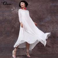 Plus Size Vestidos Celmia 5XL Women Maxi Dress 2018 Long Sleeve Soild Shirred Dress Vintage Retro