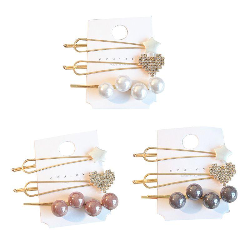 3 Pcs/Set Women Female Pretty Pearl Heart Hair Clips Metal Barrette Accessories