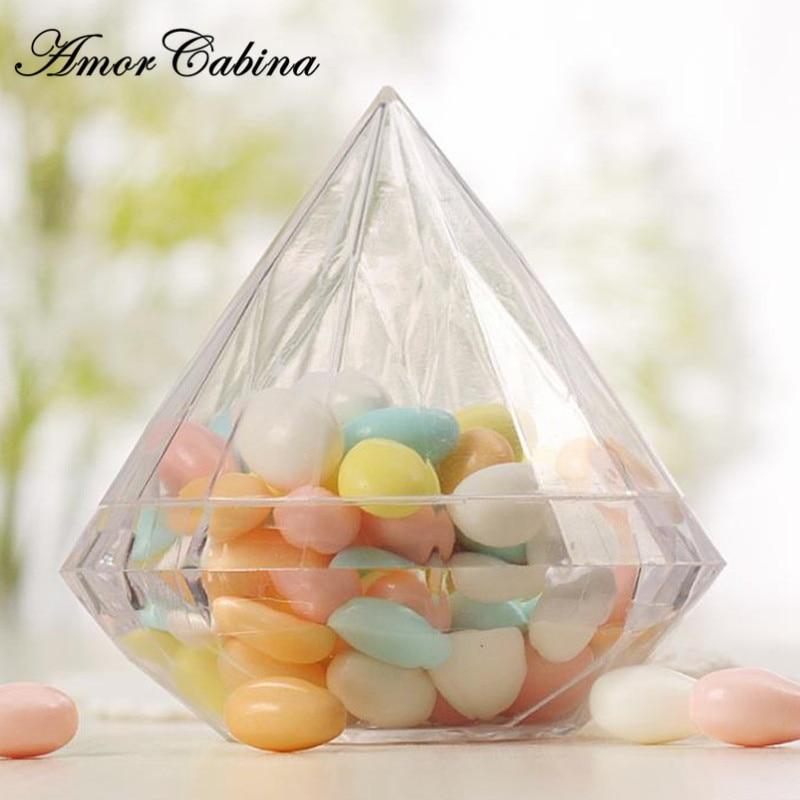 30pcs Creative Transparent Wedding Diamond Shape Childrens Party Family Transparent Plastic Heavy Decorative Candy Box Gift
