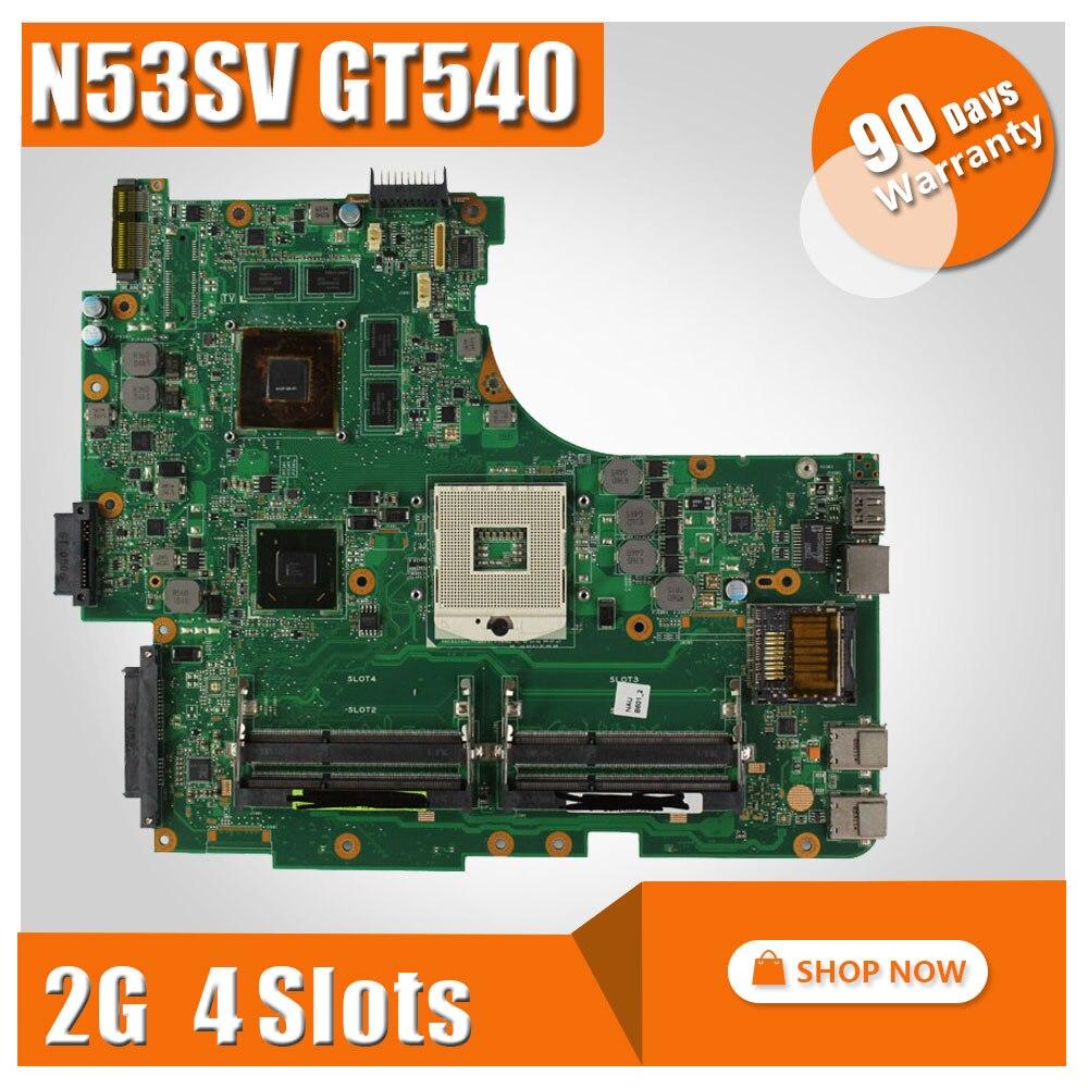 For ASUS N53SV N53SM N53SN Original laptop motherboard (mainboard) GT540M and 4 RAM slots Rev 2.2 2.0 tested well free shipping new original n53sm n53sv motherboard mainboard main board rev 2 2 with gt630m graphics card 100