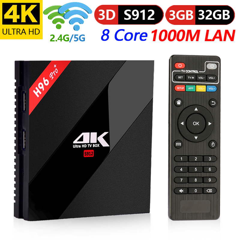 Boîtier TV intelligent d'origine H96 Max Plus 3 GB/16 GB/32 GB Amlogic S912 Octa Core android 7.1 TVBOX 2.4g/5.8 GHz WiFi BT4.1 4 K décodeur