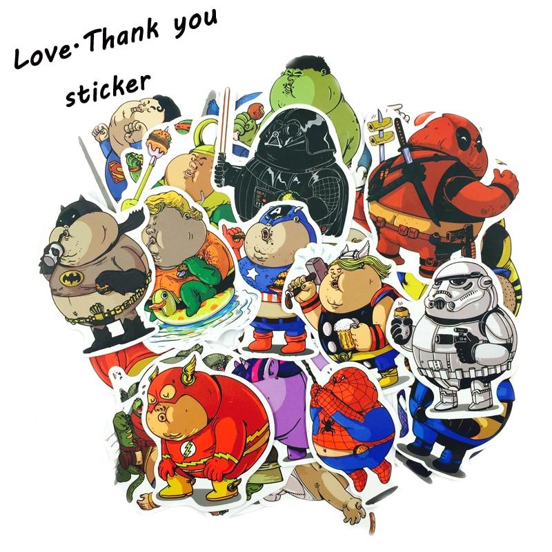 32Pcs Fat SuperHero Sticker Cute Cartoon Anime Toy Kids Stickers For PVC Laptop Luggage Skateboard Toys