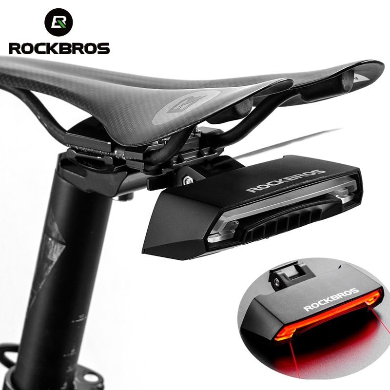 ROCKBROS Bike Bicycle Seatpost Safety Warning Tail Light Wireless IPX4 Waterproof MTB Bike Intelligent Remote Control