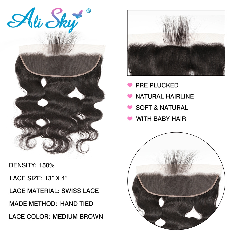 Alisky Hair 3 Bundles Brazilian Body Wave 100% Human Hair Bundles With Frontal Natural Black Remy Hair Extension Free Shipping