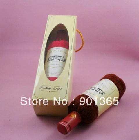 2pcs/lot Hot sale,cake towel, red wine bottle, birthday present, Christmas gifts,wedding gifts, 2 colors