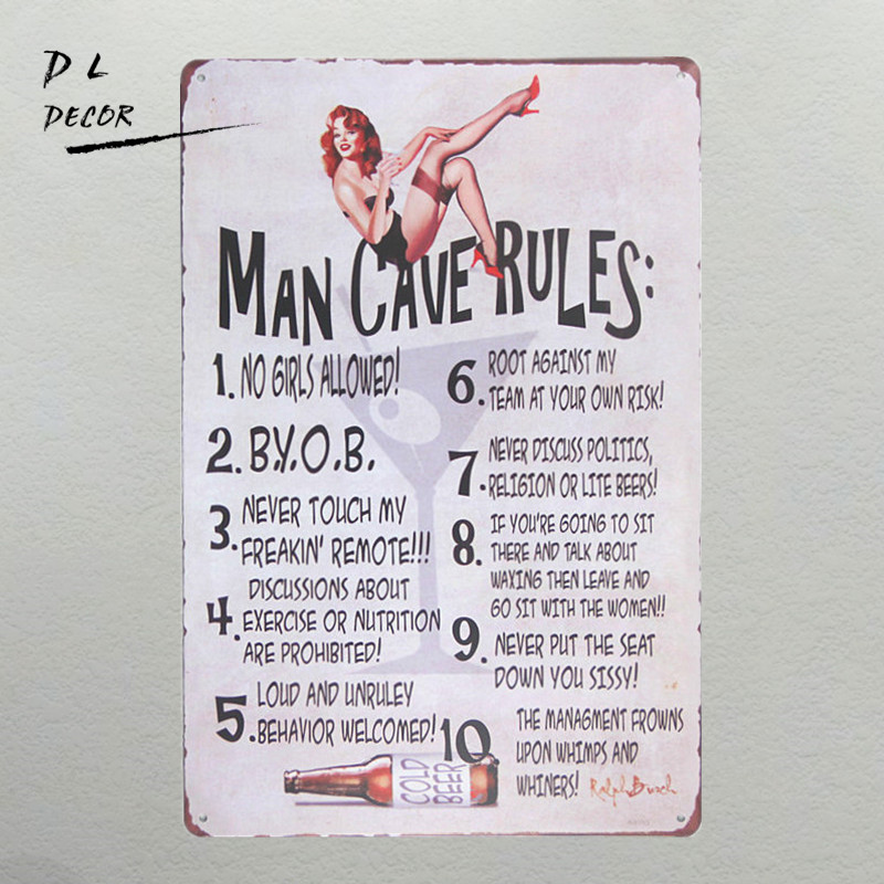 DL-Looking for a rules sign for the man cave gift .perfect for any guy that loves to hang out in the cave