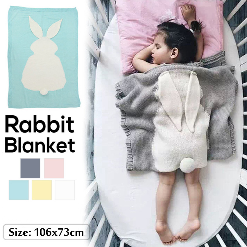 Knitted Blanket Rabbit Soft Throw Towel Winter Blanket Bedding Sheet For Kids Baby Outside Nursery Couch Travel Cobija Cobertor