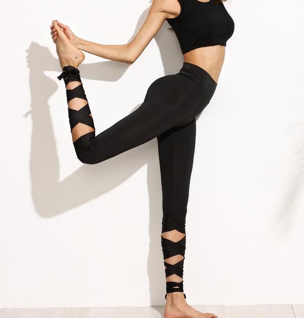 3a5a5bfc5d8c9e Women Pants Casual Trousers For Ladies Plain High Waist Crisscross Tie  Fitness Elastic Leggings Wide Waistband bandage Leggings