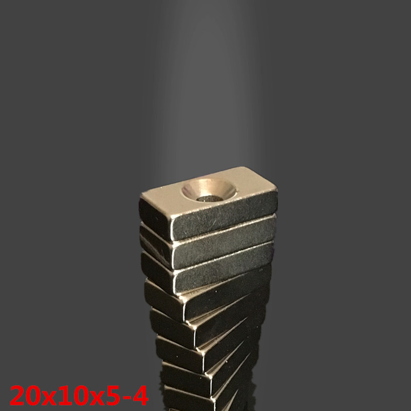 5pcs neodymium magnet 20x10x5 mm hole 4mm Small Square power Strong magnets 20*10*5mm Rare Earth Neodymium Magnets 20x10x5mm new 5pcs 15 mm x 5 mm strong ring magnets countersunk hole 5 mm rare earth neodymium circular magnet neodymium magnet