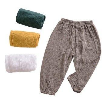 bae1275f Весенне-осенние свободные штаны для детей, одежда для мальчиков, шаровары  для девочек, однотонные Хлопковые Штаны, Мягкие штаны для маленьк.