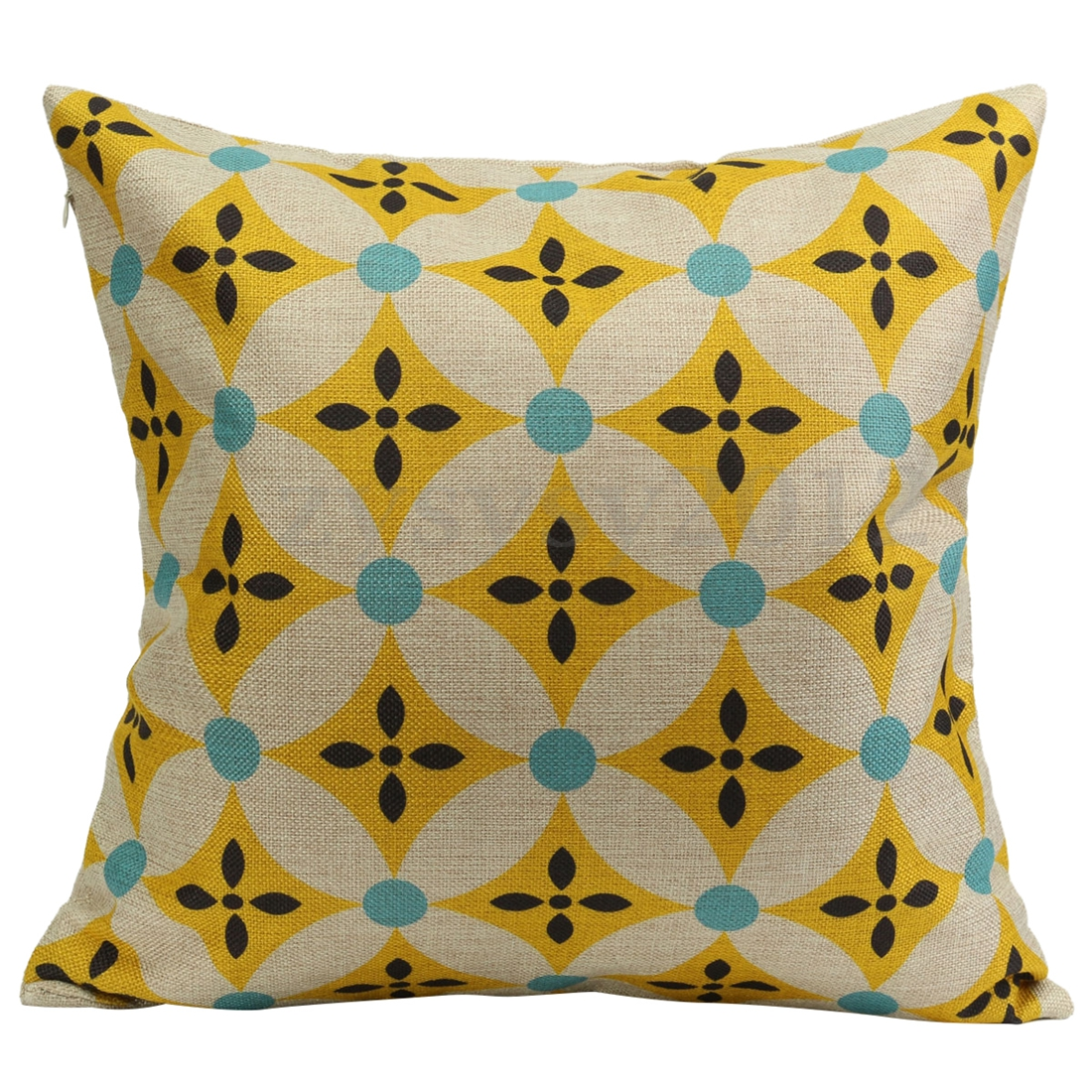 Geometric Flower Vintage Cotton Linen Pillow Case Cushion Cover Home Sofa Decor, yellow