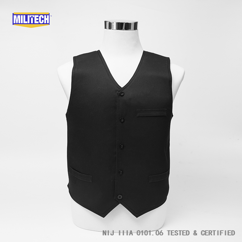 Militech Black VIP Style NIJ IIIA 3A Twaron Aramid Bulletproof Covert Ballistic Bullet Proof Vest Low Profile Body Armor Vest bulletproof vest military tactical army concealable bullet proof bullet proof vest chaleco antibalas low profile body armor
