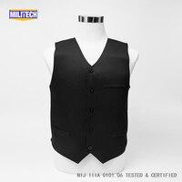 Militech Black VIP Style NIJ IIIA 3A Twaron Aramid Bulletproof Covert Ballistic Bullet Proof Vest Low Profile Body Armor Vest