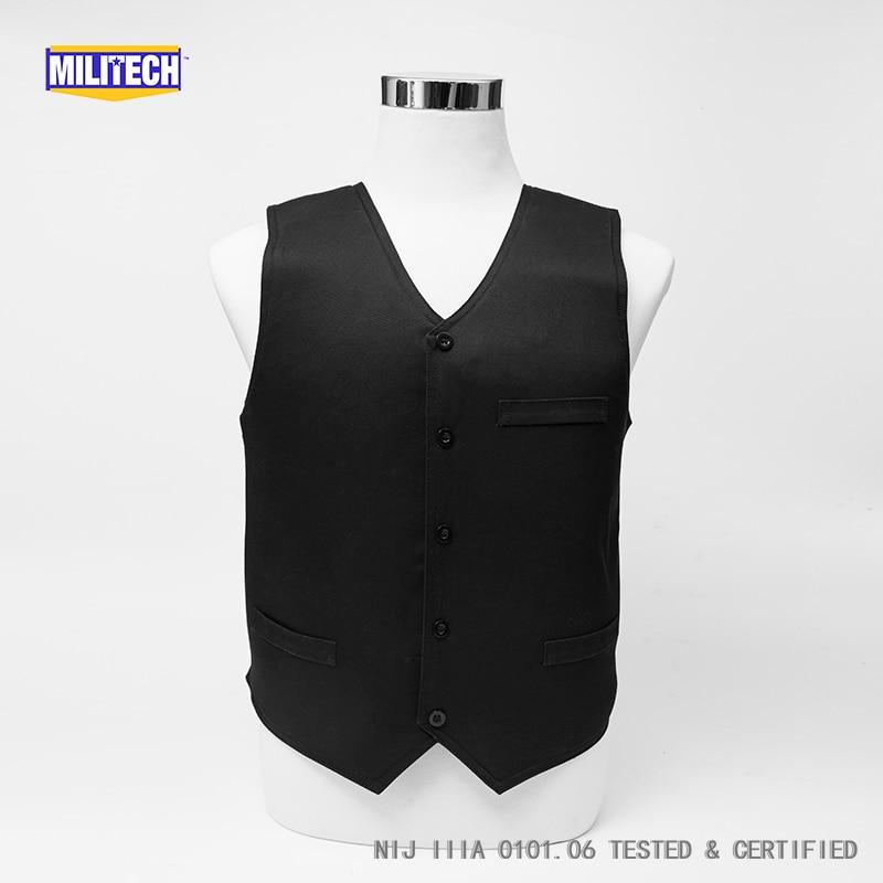 Militech Noir Style VIP NIJ IIIA 3A Twaron Aramide Bulletproof Covert Bullet Balistiques Preuve Gilet Profil Bas Body Armor Vest