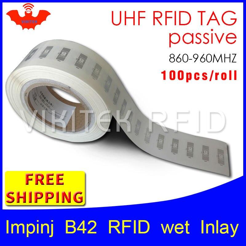 UHF RFID tag EPC 6C sticker Impinj B42 wet inlay 915mhz868mhz860-960MHZ Higgs3 100pcs free shipping adhesive passive RFID label uhf rfid tag epc 6c sticker impinj j41 wet inlay 915mhz868mhz860 960mhz higgs3 100pcs free shipping adhesive passive rfid label