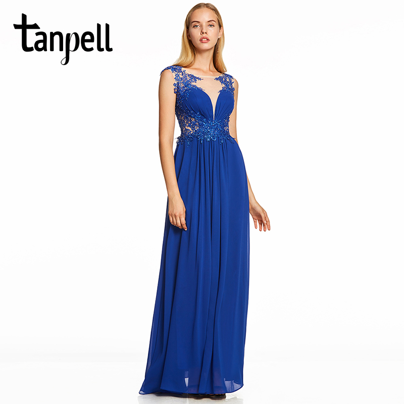e931e960b47 Tanpell beaded evening dress dark royal blue cap sleeves floor length a  line dresses women scoop