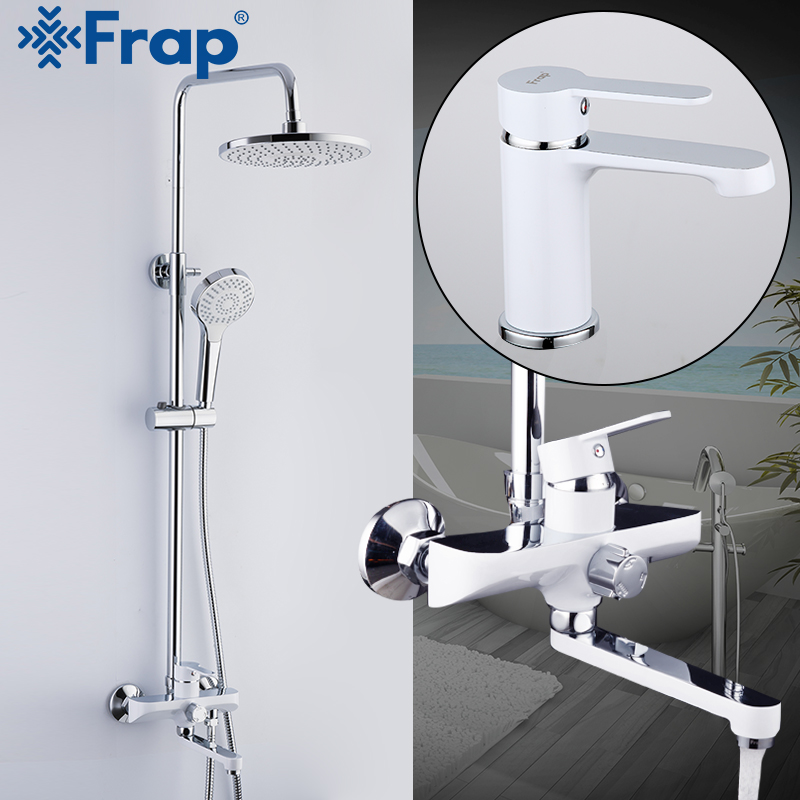 FRAP White Shower faucet Bathroom Faucets mixer bath shower basin faucets sink taps rainfall shower head set Sanitary Ware Suite