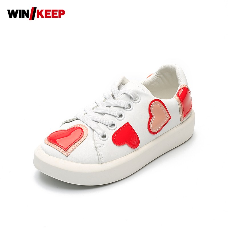 New Hot Sale Children Outdoor Sport Shoes Comfortable Heart Shaped Pu Leather For Girls Skateboarding Shoes Breathable Sneakers new hot sale children shoes comfortable breathable sneakers for boys anti skid sport running shoes wear resistant free shipping