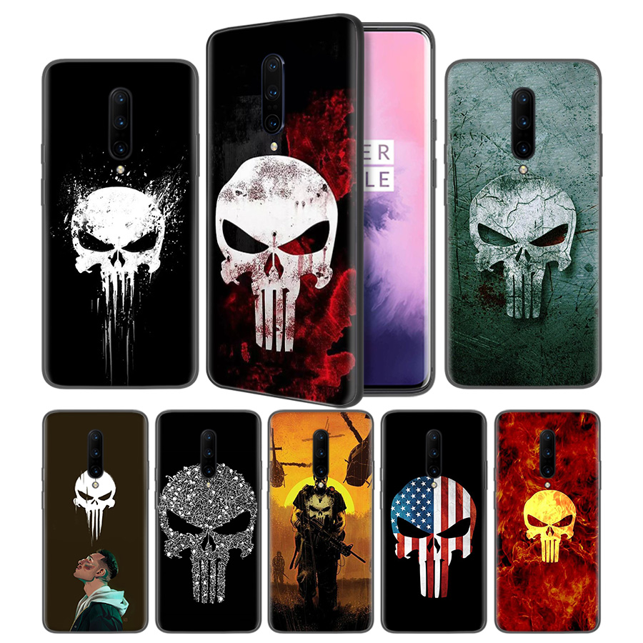 Marvel The Punisher Soft Black Silicone Case Cover for font b OnePlus b font 6 6T