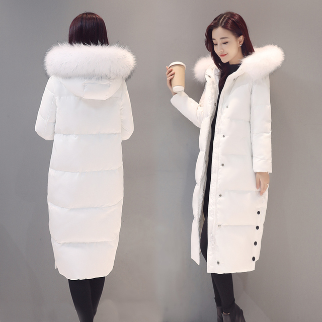 2016 large fur collar long paragraph slim thin thickening over-the-knee white down coat female