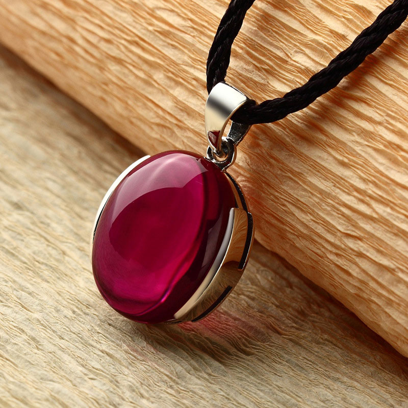 FNJ 925 Silver Round Pendant 100 Real S925 Solid Original Silver Synthetic Red Corundum Pendants for
