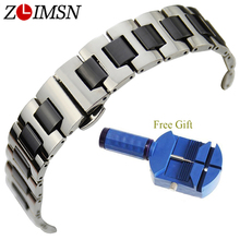 LIMSN New 16mm 20mm Watch Ceramic Bracelet Stainless Steel Watchband White or Black Wristband Strap Butterfly Buckle Free Gift