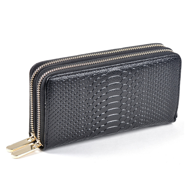 Double Zipper Women Wallets Fashion Style Cow Split Leather Wallet Crocodile Alligator Pattern Long Purse Wallet Women carteira