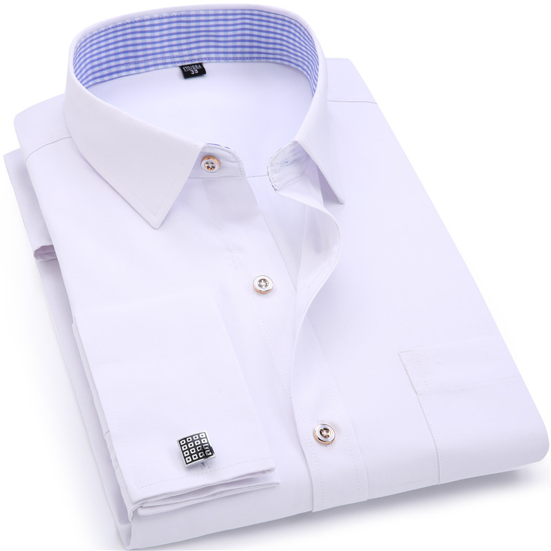 Koszule męskie French Cuff Niebiesko-białe z długim rękawem Business Casual Shirt Slim Fit w jednym kolorze z francuskiej spinki do mankietów