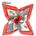 Small twill Silk Scarf Women striped Silk scarf square Fashion Style foulard Female Luxury Brand satin shawl neck bandana pz45