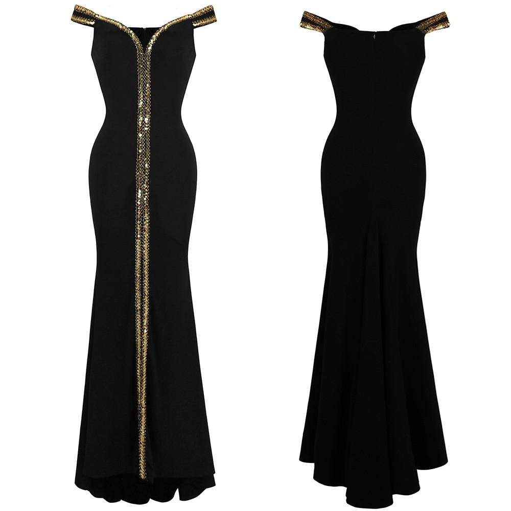 Angel-Fashion Бисероплетение выпускного вечера Формальное вечернее платье с разрезом Длинные вечерние платья черные 027 - Цвет: Boat neck black